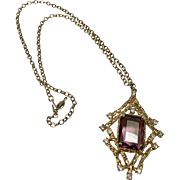 "Sarah Coventry ""Twilight"" Glass Amethyst Modern Pendant Necklace"