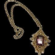 "Sarah Coventry ""Twilight"" Glass Amethyst Modern Pendant Necklace"