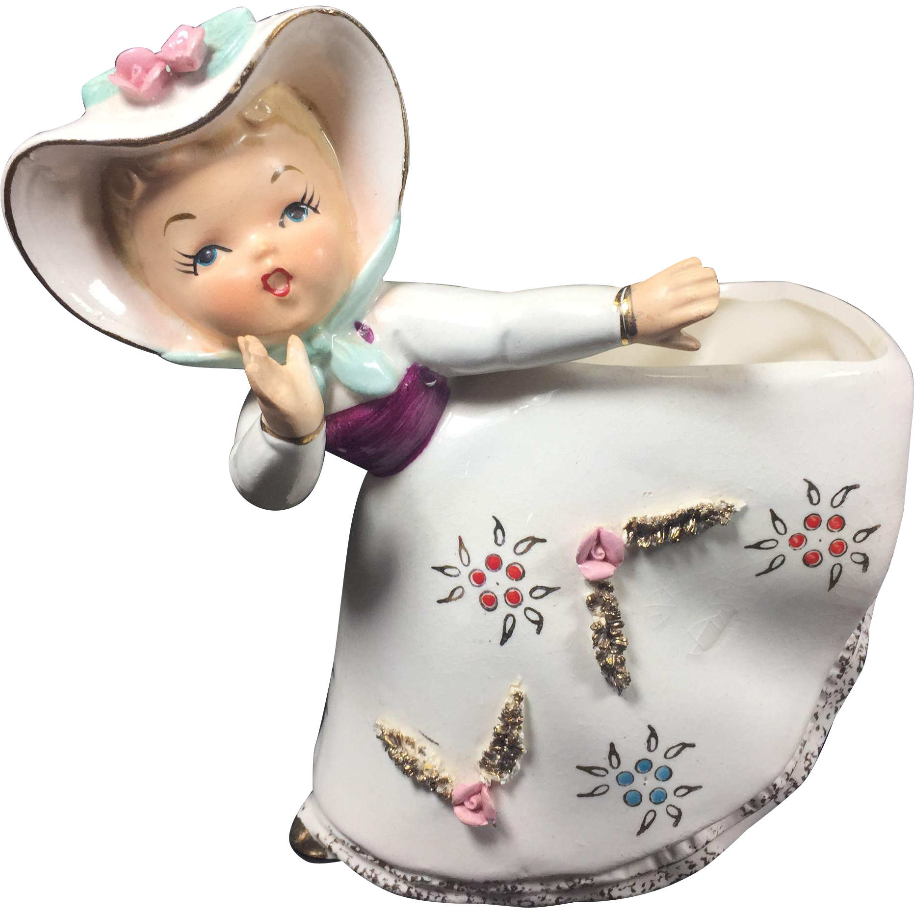 1950's Relpo Bloomer Girl Ceramic Planter