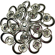 Atomic Spiral Brooch w Aurora Borealis Rhinestones by Sarah Coventry