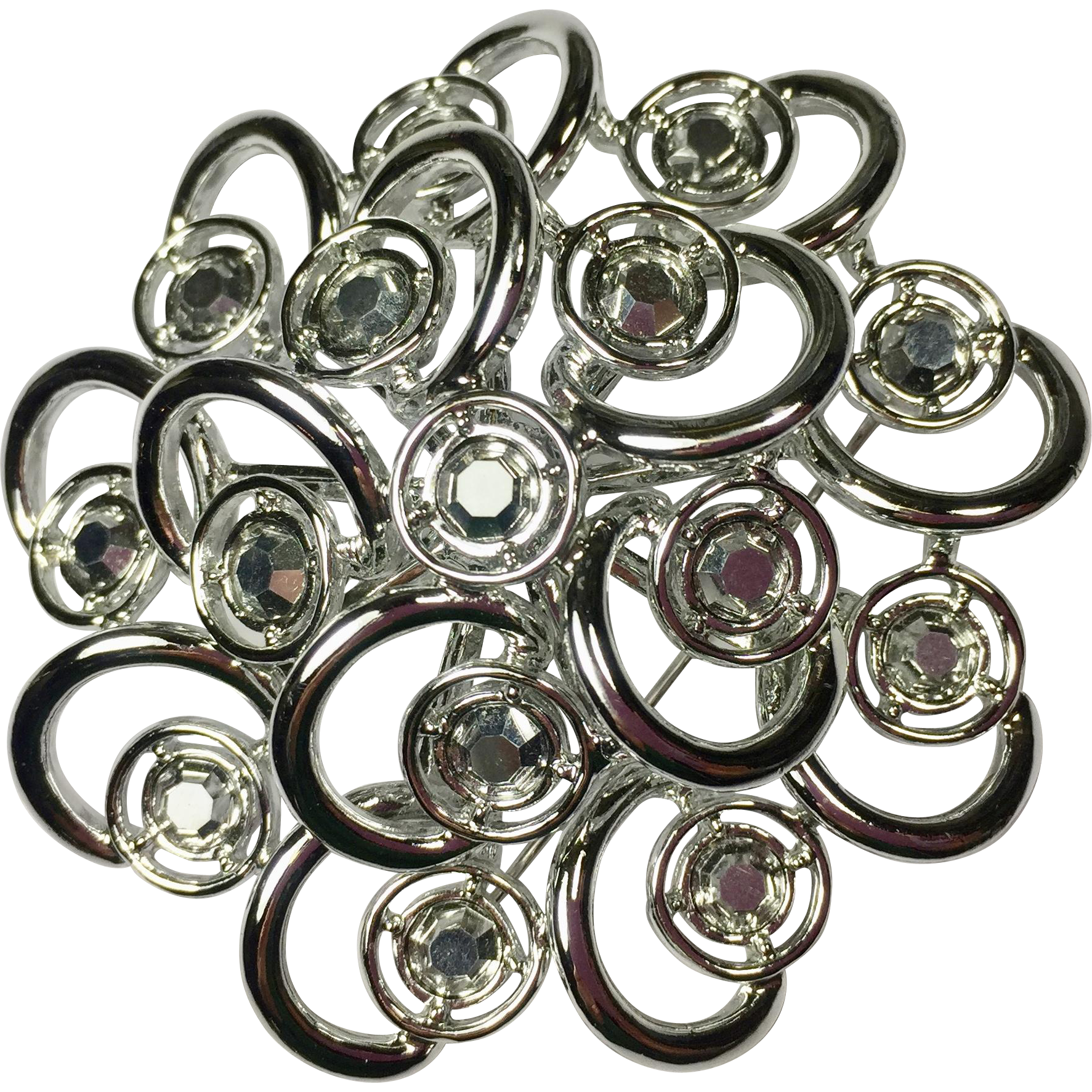 Atomic Spiral Brooch w Aurora Borealis Rhinestones by Sarah Coventry