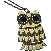 Chunky Antiqued Reticulated Enamel Owl Pendant Necklace