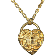 Vintage Padlock Heart Perfume Compact / Locket Necklace by Sarah Coventry