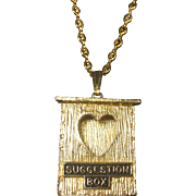 Vintage Valentine Heart Suggestion Box Pendant Necklace