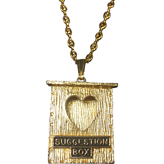 Vintage Valentine Heart Suggestion Box Pendant Necklace