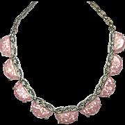 Vintage Mod Pink Lucite Confetti Necklace
