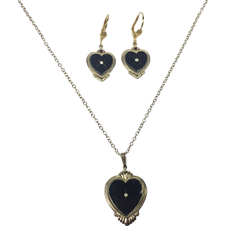 Vintage Victorian Style Mourning Black Faux Onyx Heart Pendant & Earrings