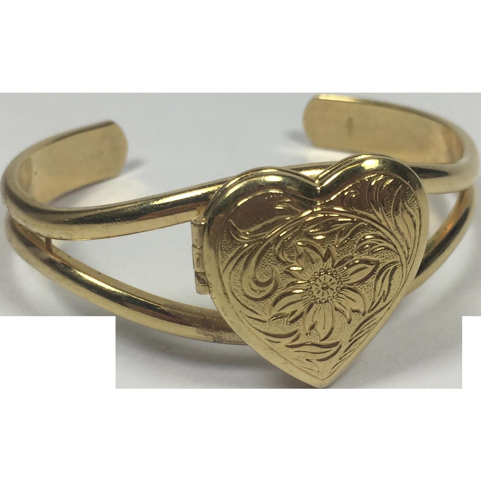 Vintage Victorian Style Valentine Heart Photo Locket Cuff Bracelet