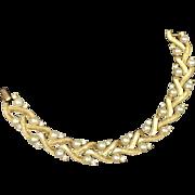 Elegant Trifari Woven Bracelet w Faux Pearls & Rhinestones