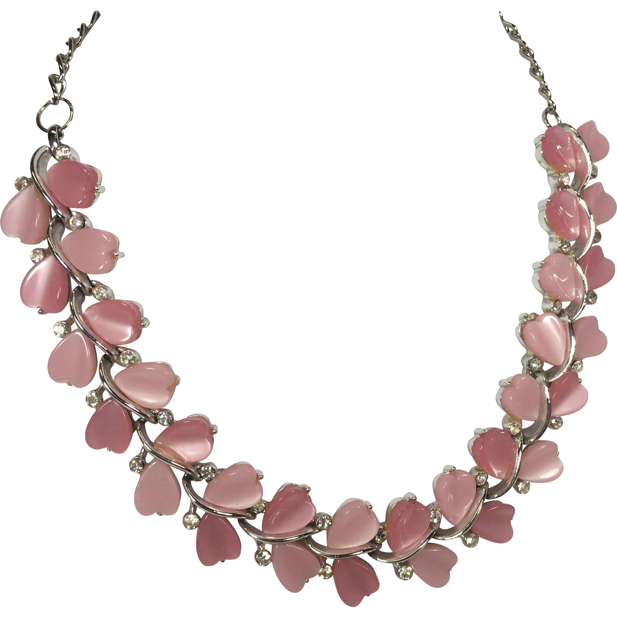 Lucite Pink Heart & Rhinestone Necklace by Lisner