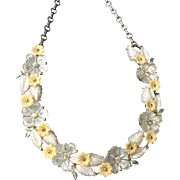 Vintage Floral Necklace Thermoset Plastic & Rhinestones