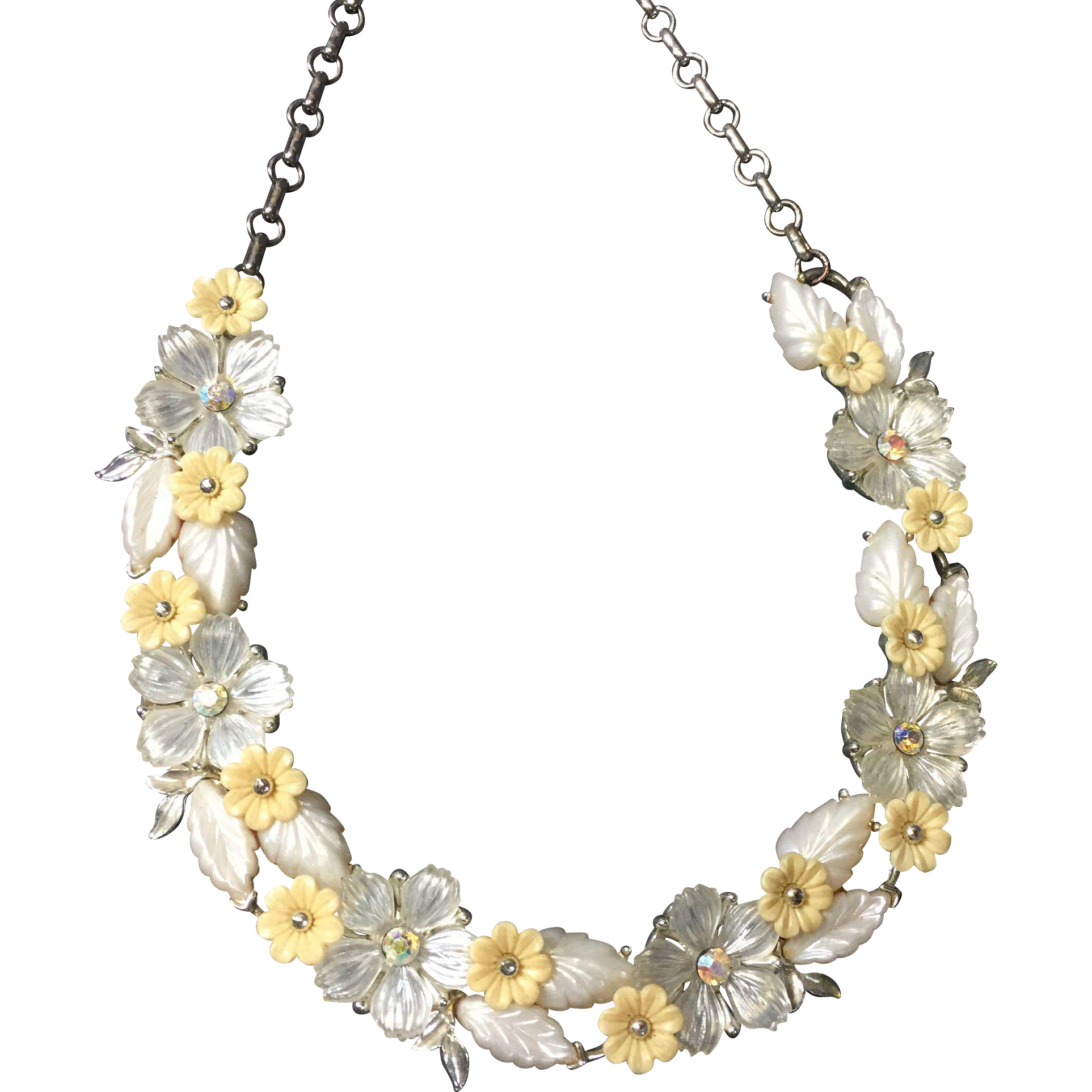 Romantic Molded Floral Thermoset Necklace w Rhinestones