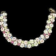 Coro Plastic Floral Bracelet with Pastel Rhinestones