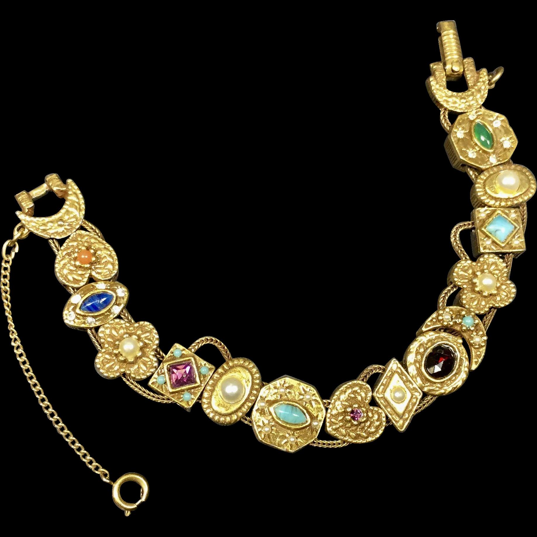 Goldette Victorian Style Slide Bracelet w 14 Charms