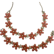Lisner Peachy Thermoset Plastic Flowers & Rhinestone Necklace & Bracelet