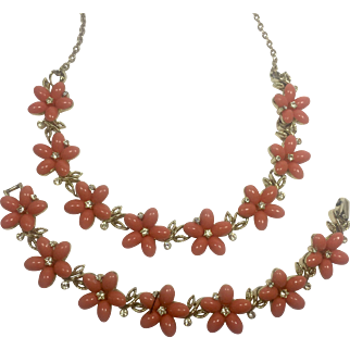 Lisner Peachy Thermoset Plastic Flowers & Rhinestone Necklace & Bracelet