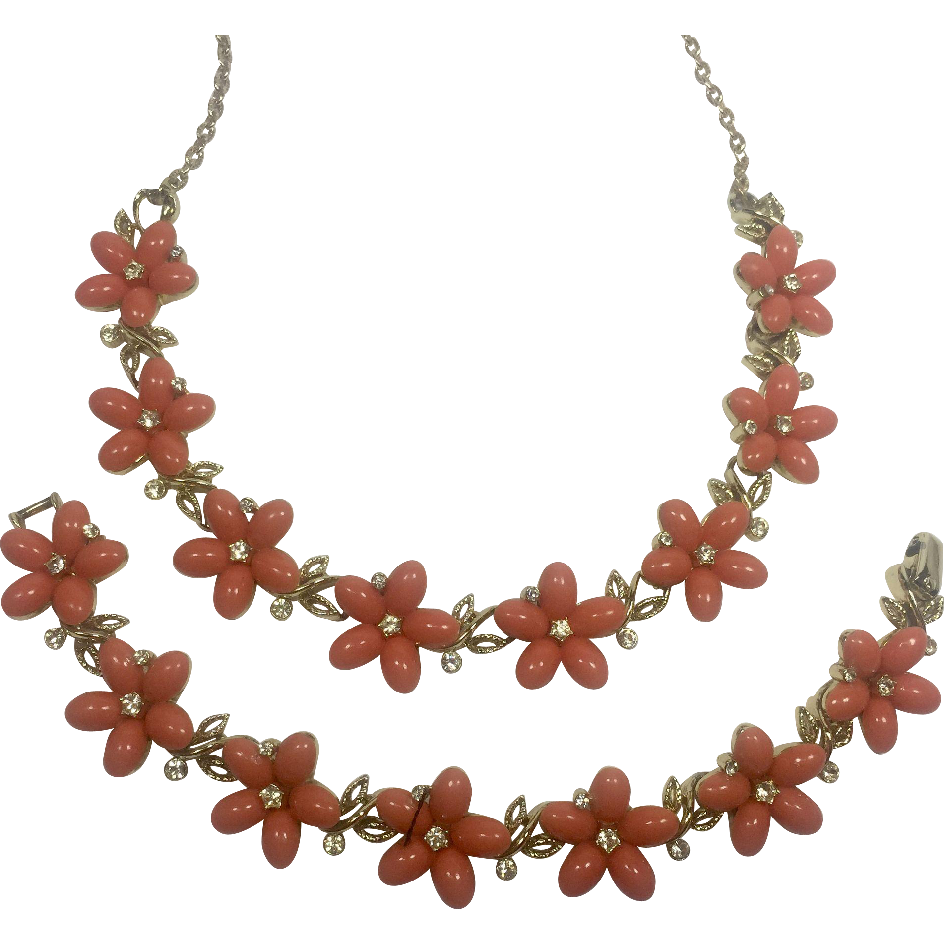 Vintage Plastic Flower Rhinestone Necklace Bracelet Lisner