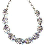 Coro Sparkling Blue & Purple Rhinestone Aurora Borealis Necklace