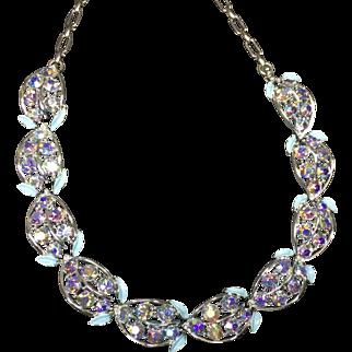 Coro Sparkling Blue & Purple Rhinestone Aurora Borealis Necklace