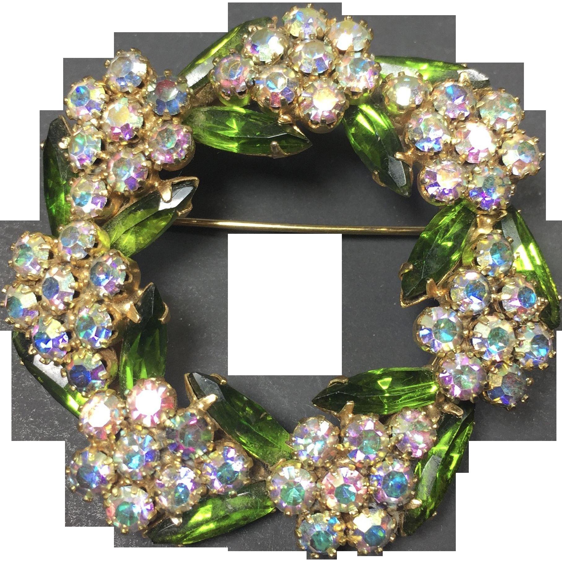 Vintage Rhinestone Brooch Green & Pink Floral Wreath Aurora Borealis