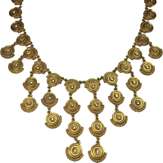 Vintage Bib Necklace Egyptian Revival Style Gold Tone w Rhinestones