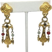 Vintage Earrings Renaissance Egyptian Revival Style Gold Tone w Glass Beads