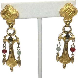 Vintage Earrings Renaissance Egyptian Revival Style Gold Plate Glass Beads