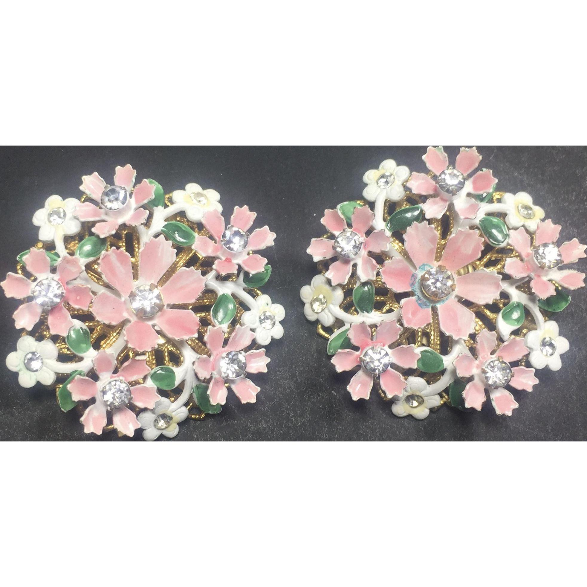 Vintage Earrings Metal & Enamel Pink & White Flowers w Rhinestone