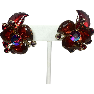 Vintage Red Rhinestone Earrings w Large Ruby & Orange Watermelon Stones