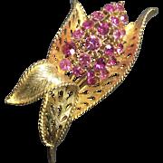 Vintage Rhinestone Brooch Flower Pin Pink Hyacinth Lisner