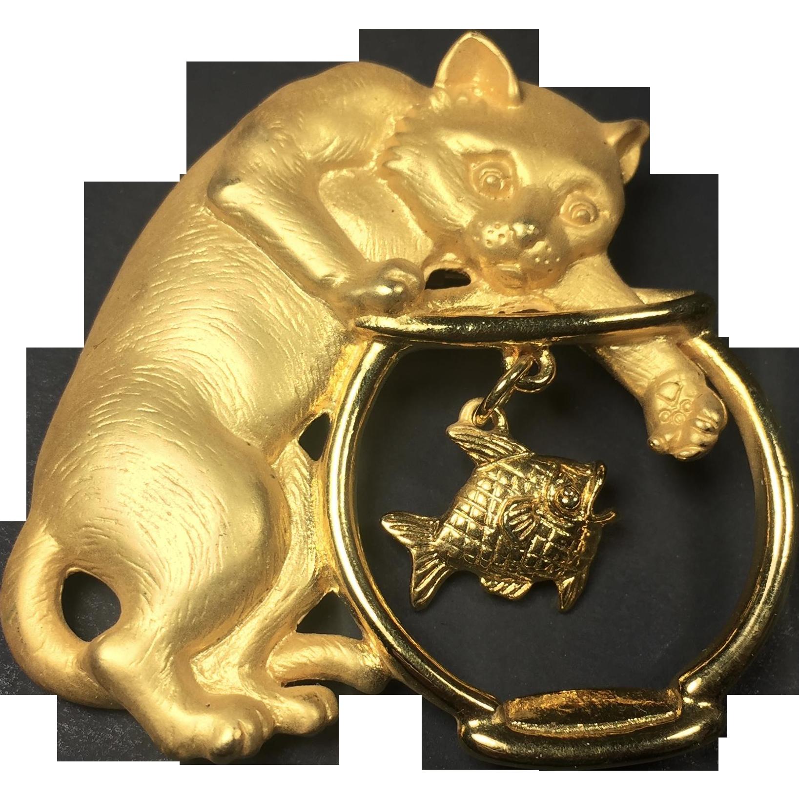Vintage JJ Cat Brooch Pin Fishbowl