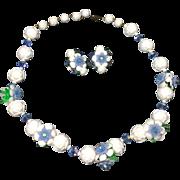 Vintage Necklace Earrings Plastic Crystal Flowers