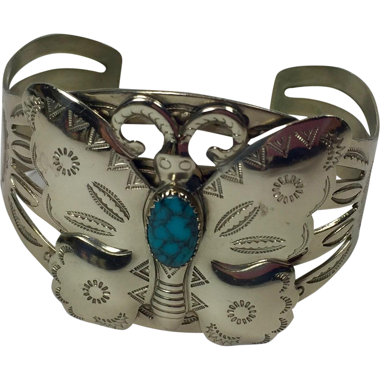 Vintage Bracelet Native American Butterly Bell Trading Nickel Silver
