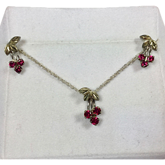 Vintage Cherry Necklace Earrings Black Hills Sterling Gold Ruby