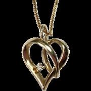 Vintage 10K Gold Heart Pendant 14K Box Chain