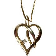 Vintage 10K Gold Heart Pendant 14K Box Chain