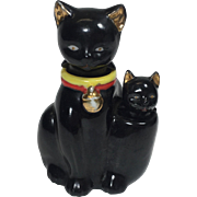 Vintage Salt Pepper Shaker Nodder Black Cat Kitty