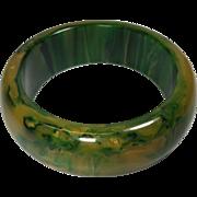 Vintage Bakelite Bangle Bracelet Inky Green Gold Swirl Wide