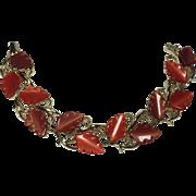 Vintage Bracelet Thermoset Leaf Red Cinnamon Fall
