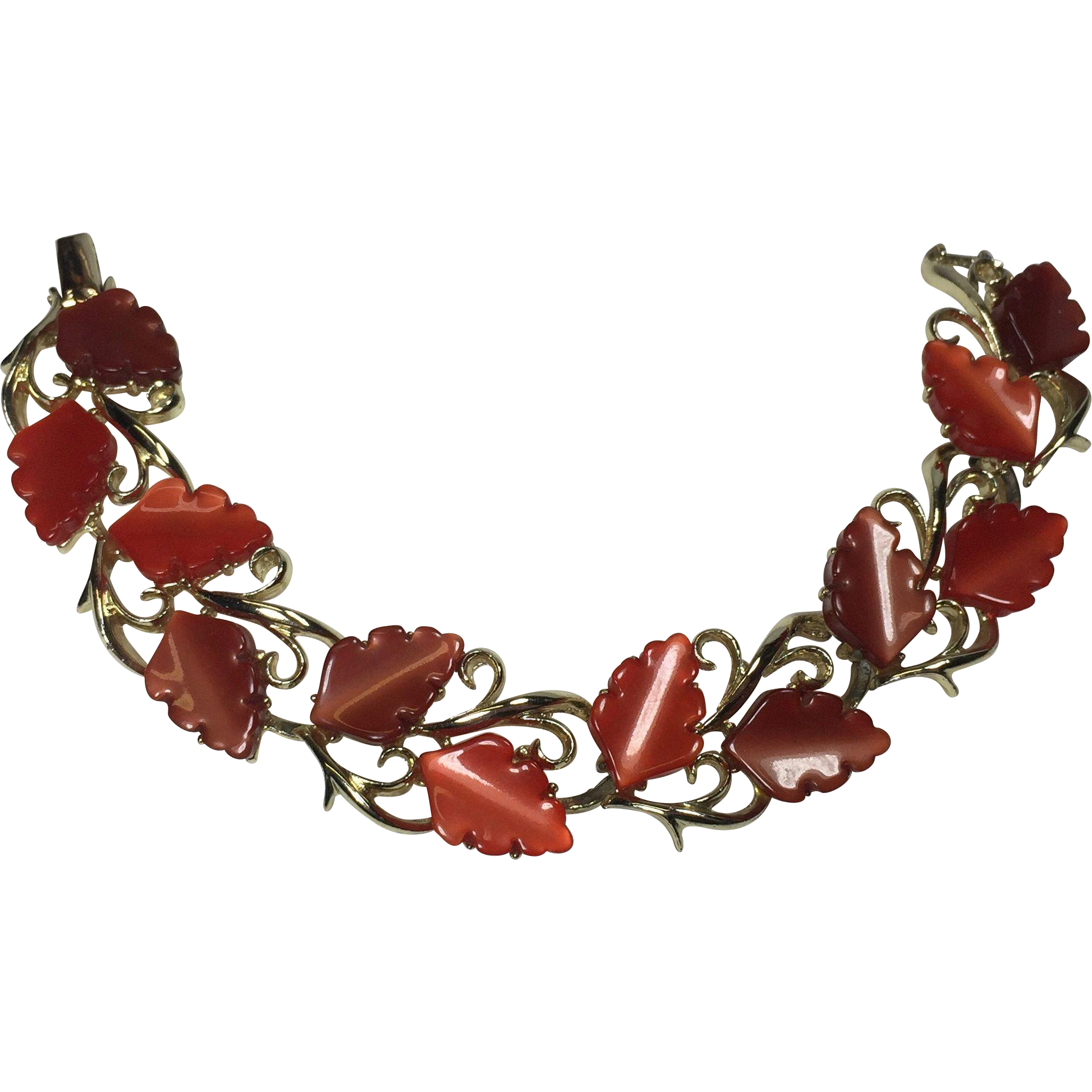 Vintage Bracelet Thermoset Leaf Red Cinnamon Fall
