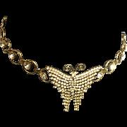 Vintage Rhinestone Butterfly Belt Necklace Chain