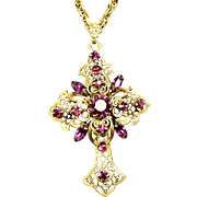Vintage Rhinestone Cross Pendant Necklace Filigree