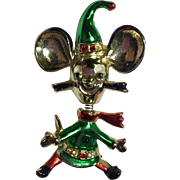 Vintage Christmas Brooch Mouse Elf Trembler Beatrix BJ