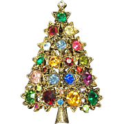 Vintage Christmas Tree Brooch Rhinestone Hollycraft Stars