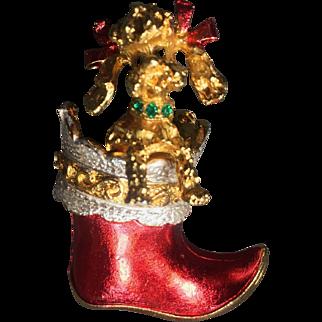 Vintage Christmas Poodle Dog Brooch Boot Mylu