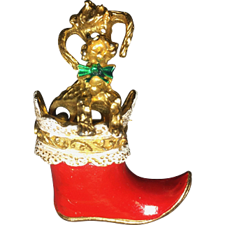 Vintage Christmas Poodle Dog Brooch Boot Articulated