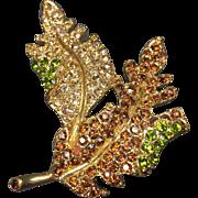 Vintage KJL Rhinestone Brooch Autumn Leaf