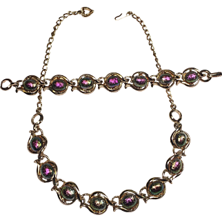 Vintage Carnival Glass Necklace Bracelet Set
