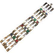 Vintage Mid-Century Modernist Cuff Bracelet Chrome Glass