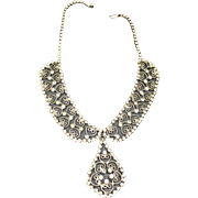 Vintage Rhinestone Filigree Necklace Collar